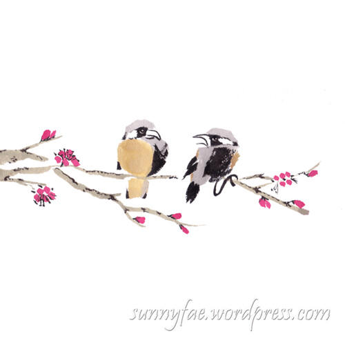 Chinese birds on a blossom branch day 15
