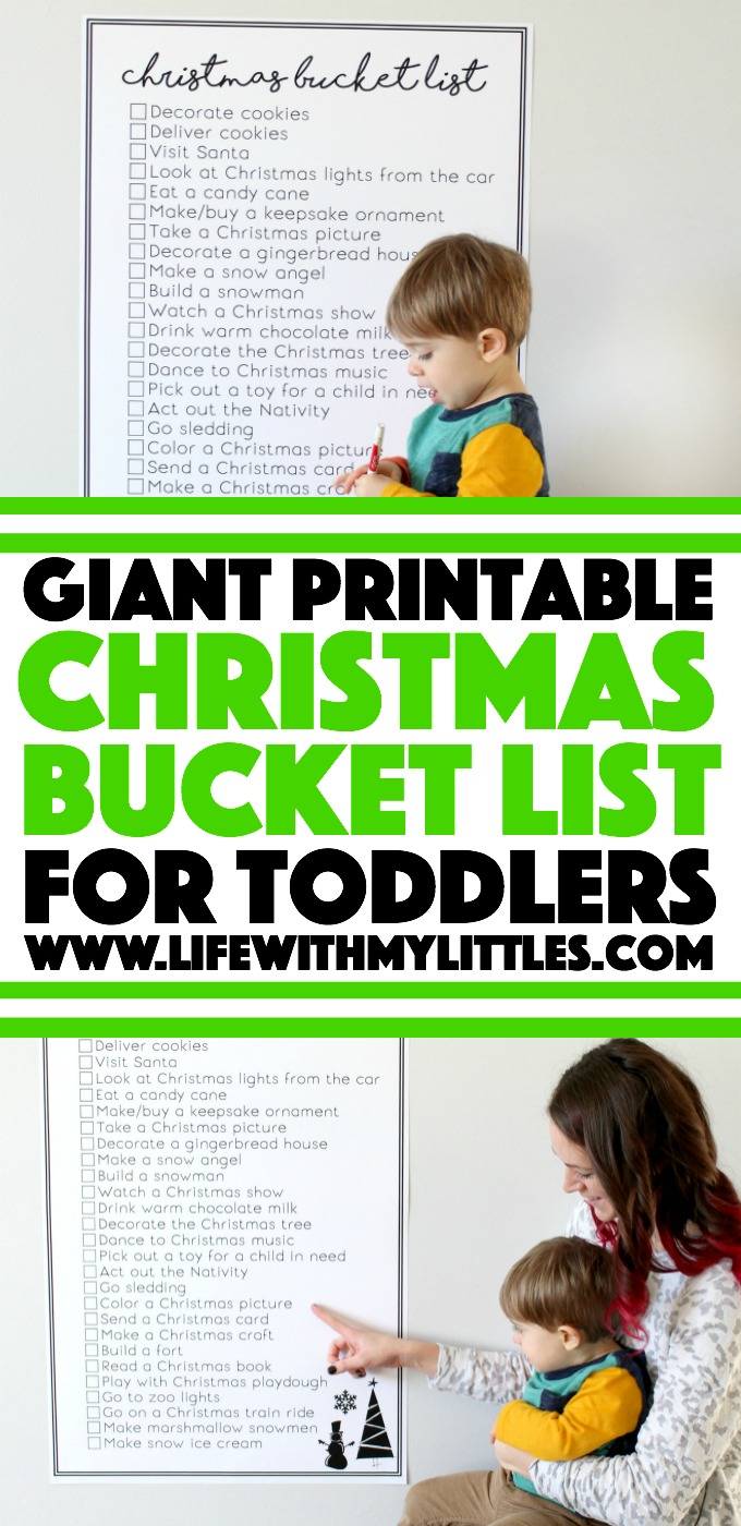 This free giant printable Christmas bucket list for toddlers is awesome! Great toddler-friendly Christmas activities that your whole family will enjoy! And the giant poster printable is so cool!