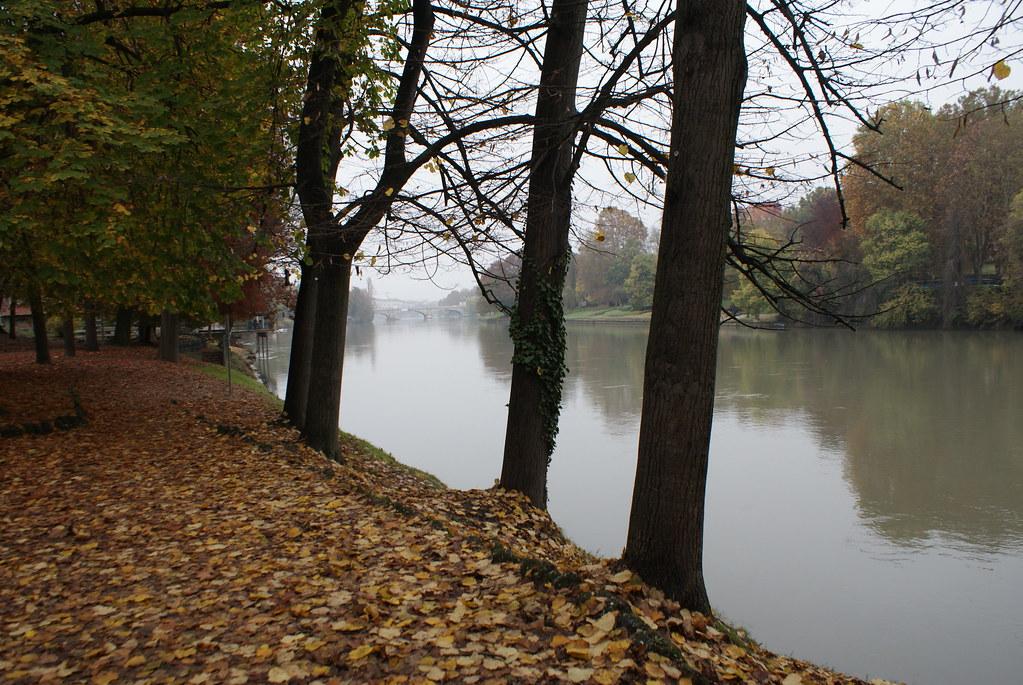 > Rive du fleuve Pô depuis le parc Valentino à Turin.