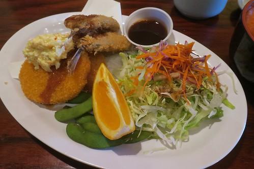 Aji Fry & potato croquette, small chirashi salad
