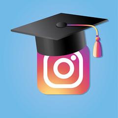 Instagram Social Media Icon With Graduation Cap