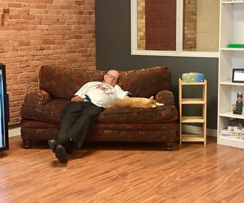 Вот уже полгода мужчина приходит в приют, чтобы поспать в обнимку с кошками