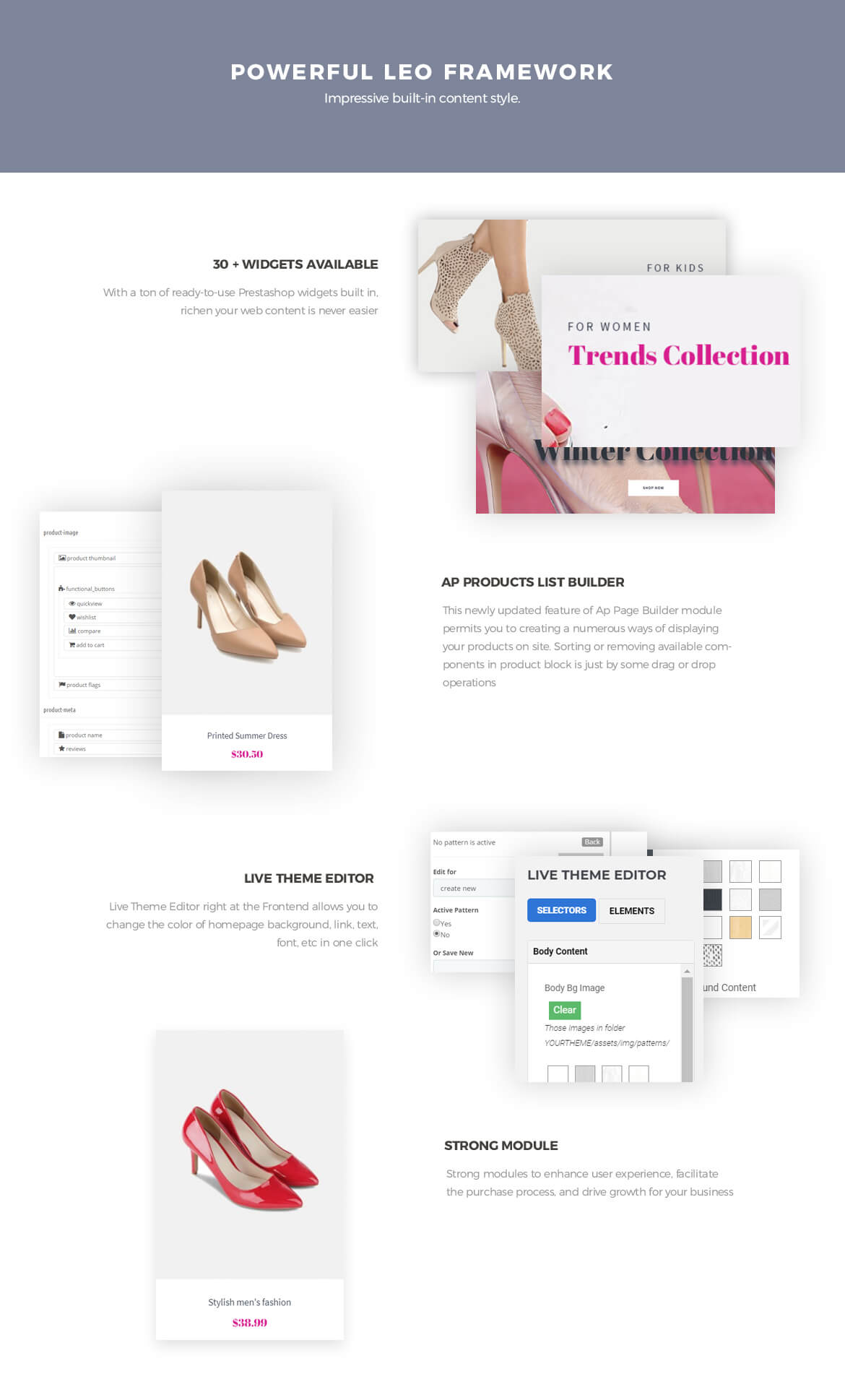 powerful prestashop framework - Leo Party Girl - Shoes and Fashion Prestashop 1.7 theme