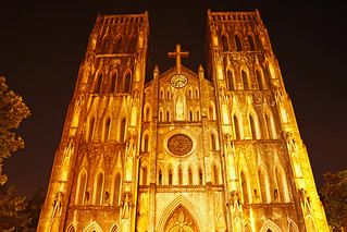 Hanoi by night. St Joseph's Cathedral