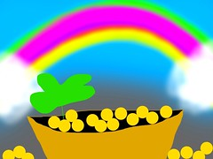 #luck #lucky #rainbow #clover #potofgold #gold #art