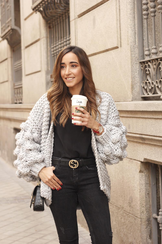 Grey cardigan black jeans folli folie watch leopard print heels starbucks tea street style fall outfit 201809