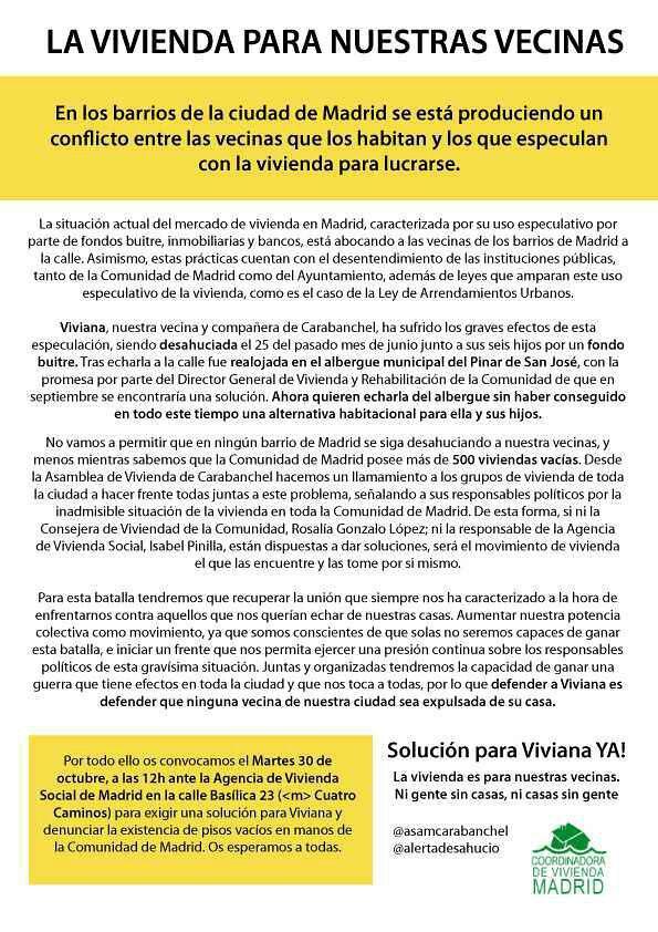 Acción Frente A La Agencia De Vivienda Social Asamblea Popular De Carabanchel
