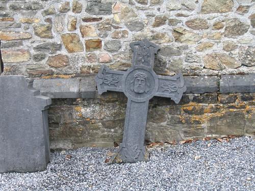 Broken tombstone in Dochamps