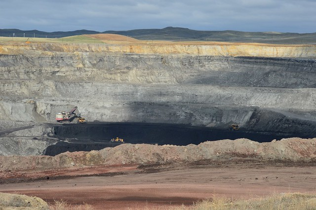 This view gives  you a look at how far the coal is down in the ground, Eagle Butte Mine.