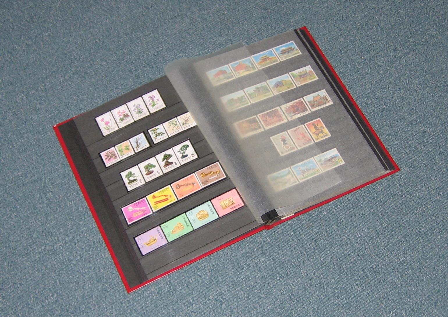 A traditional stockbook with 10 horizontal strips for stamps