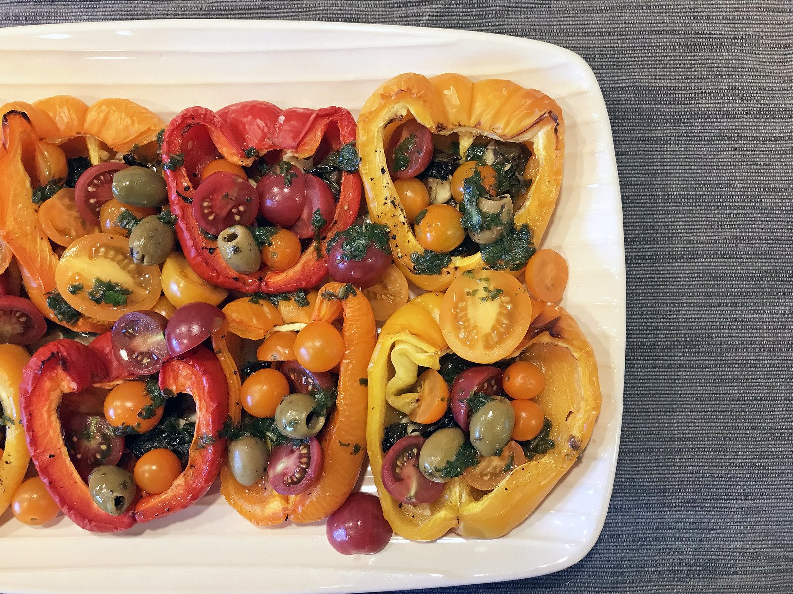 Roasted pepper and cherry tomato salad