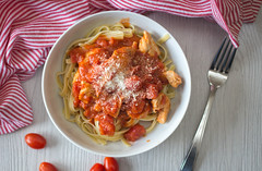chicken parmesan with pasta top view