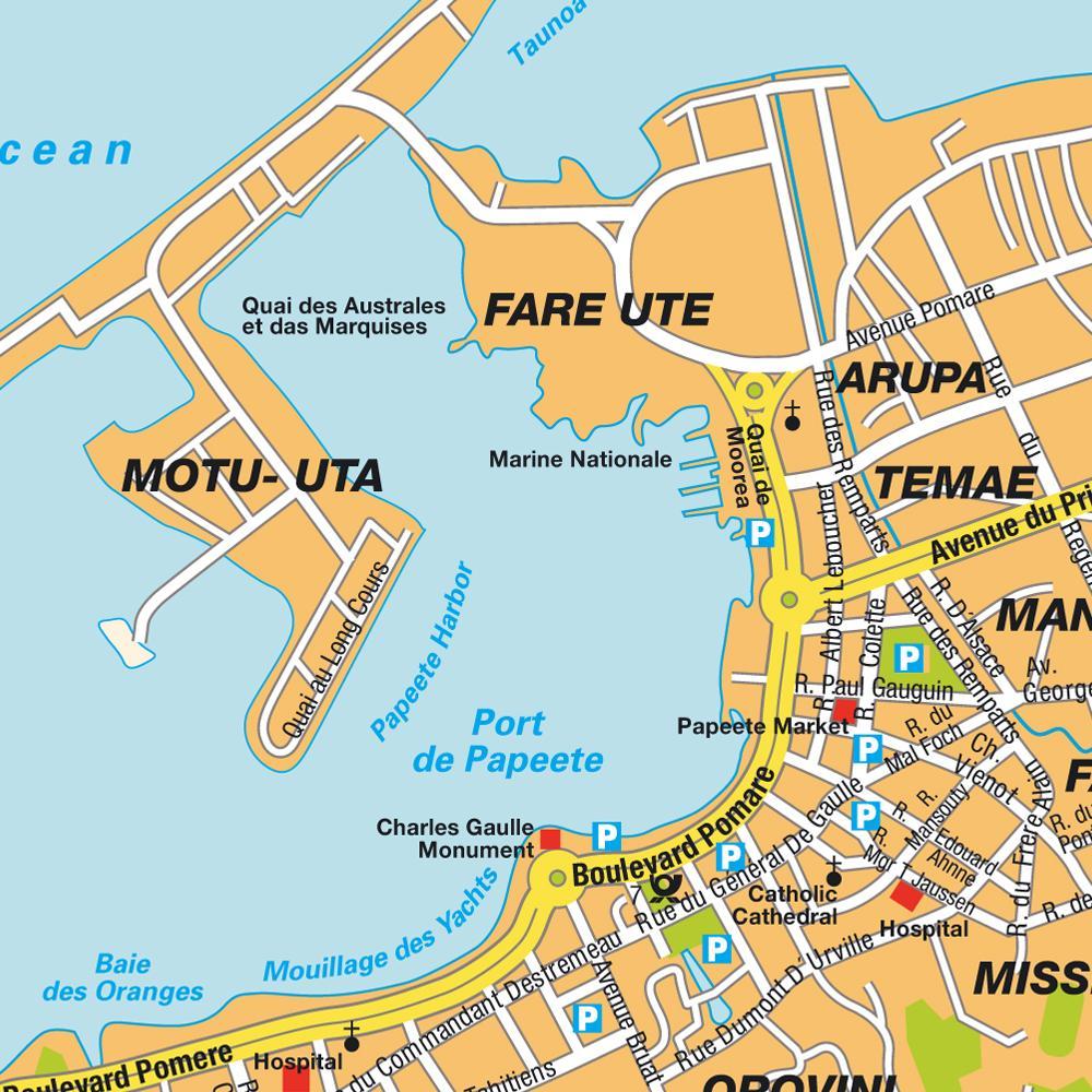 Map of Papeete, capital of Tahiti.