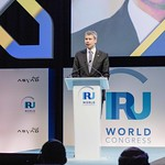 Steffen Bilger during the plenary session 1 at IRU World Congress in Muscat, Oman