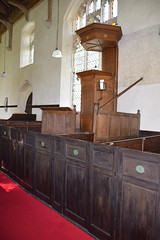 triple decker pulpit and numbered box pews