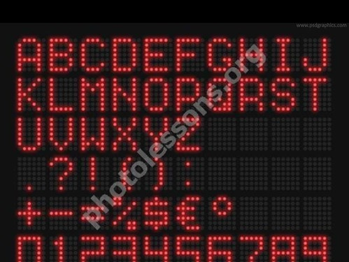 LED text in PSD format free Photoshop source