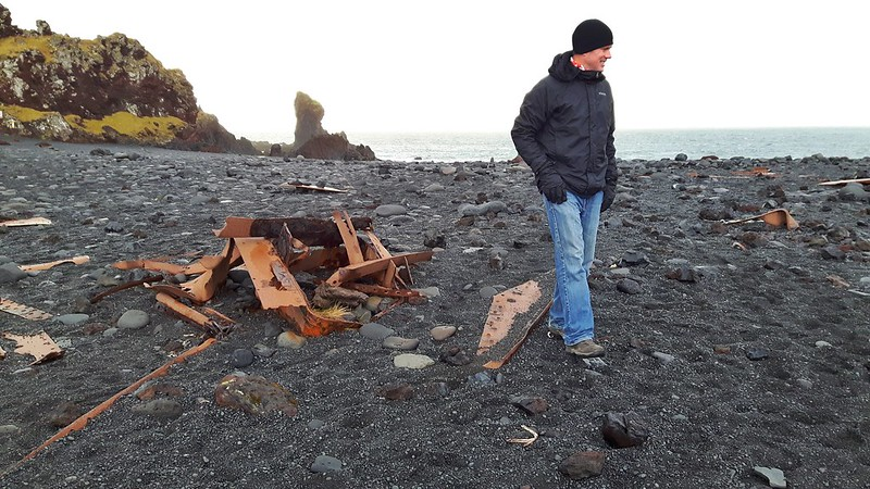 Terry exploring the shipwreck on Djúpalónssandur beach, Iceland