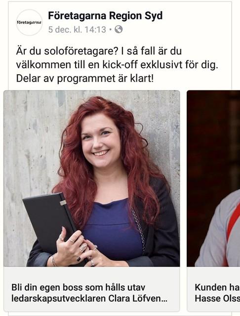 Clara Löfvenhamn föreläser om självledarskap på Soloföretagardagen av Företagarna