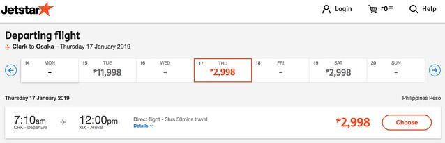 Clark to Osaka Jetstar Great Escape Sale