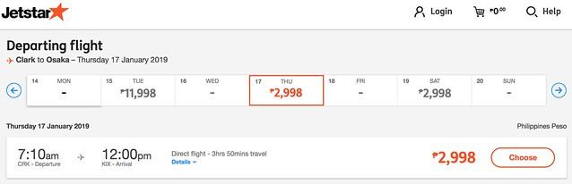 Clark to Osaka Jetstar Great Escape Sale