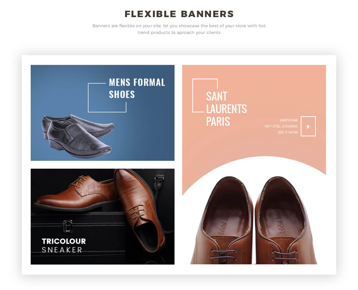 flexible banners - men shoes and fashion online store