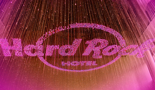 The welcome lights on the ceiling at the Hardrock Hotel at Penang - Malaysia