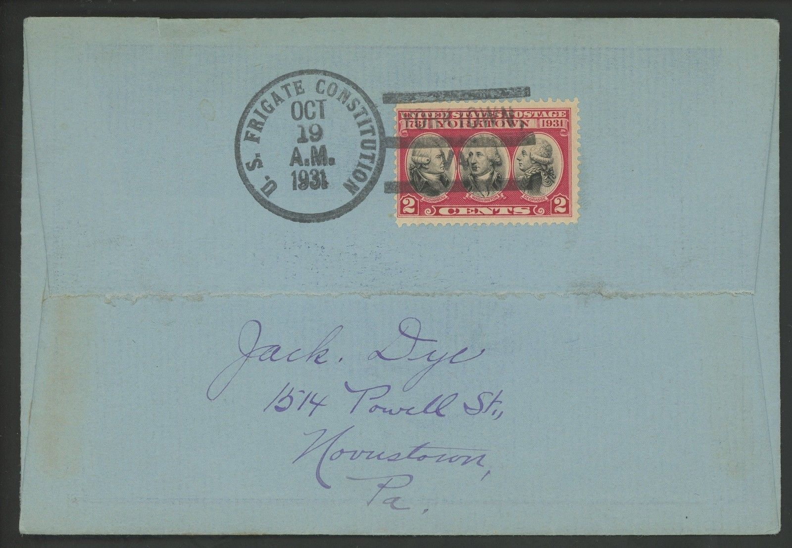 United States - Scott #703 (1931) unofficial first day cover postmarked on the frigate U.S.S. Constitution