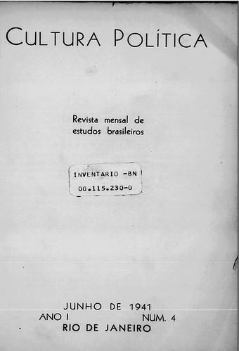Fac-símile da capa da revista Cultura Política – Revista Mensal de Estudos Brasileiros, revista de propaganda do Estado Novo