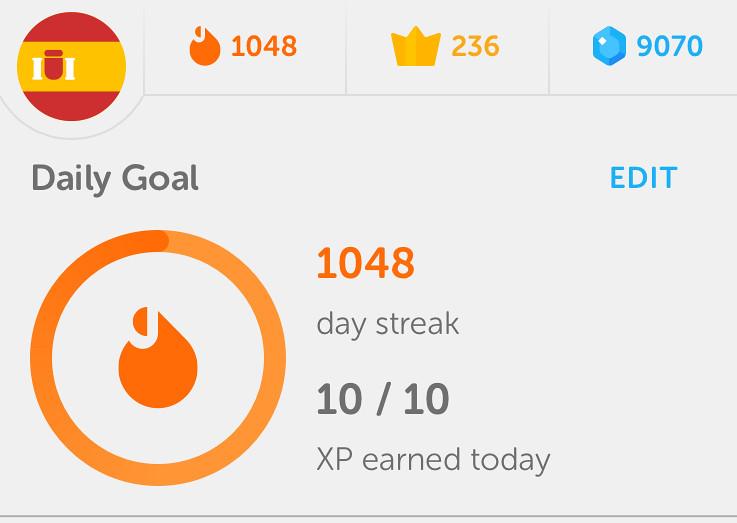 1048 Day Streak on Duolingo