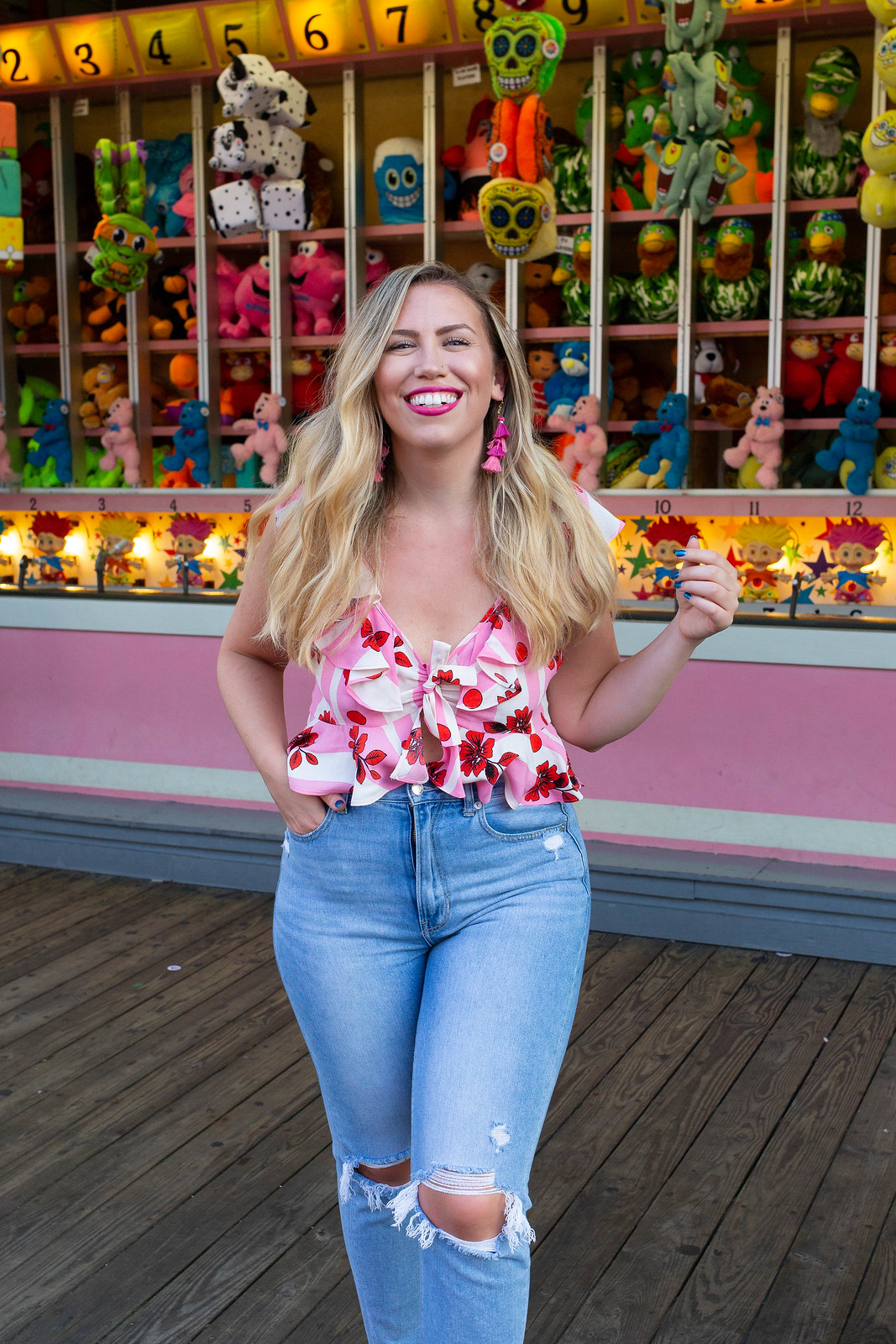 Playland Amusement Park Topshop Brigitte Ruffle Crop Top American Eagle Mom Jeans