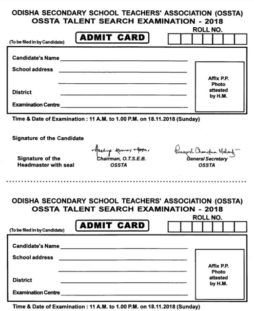 OSSTA Admit Card