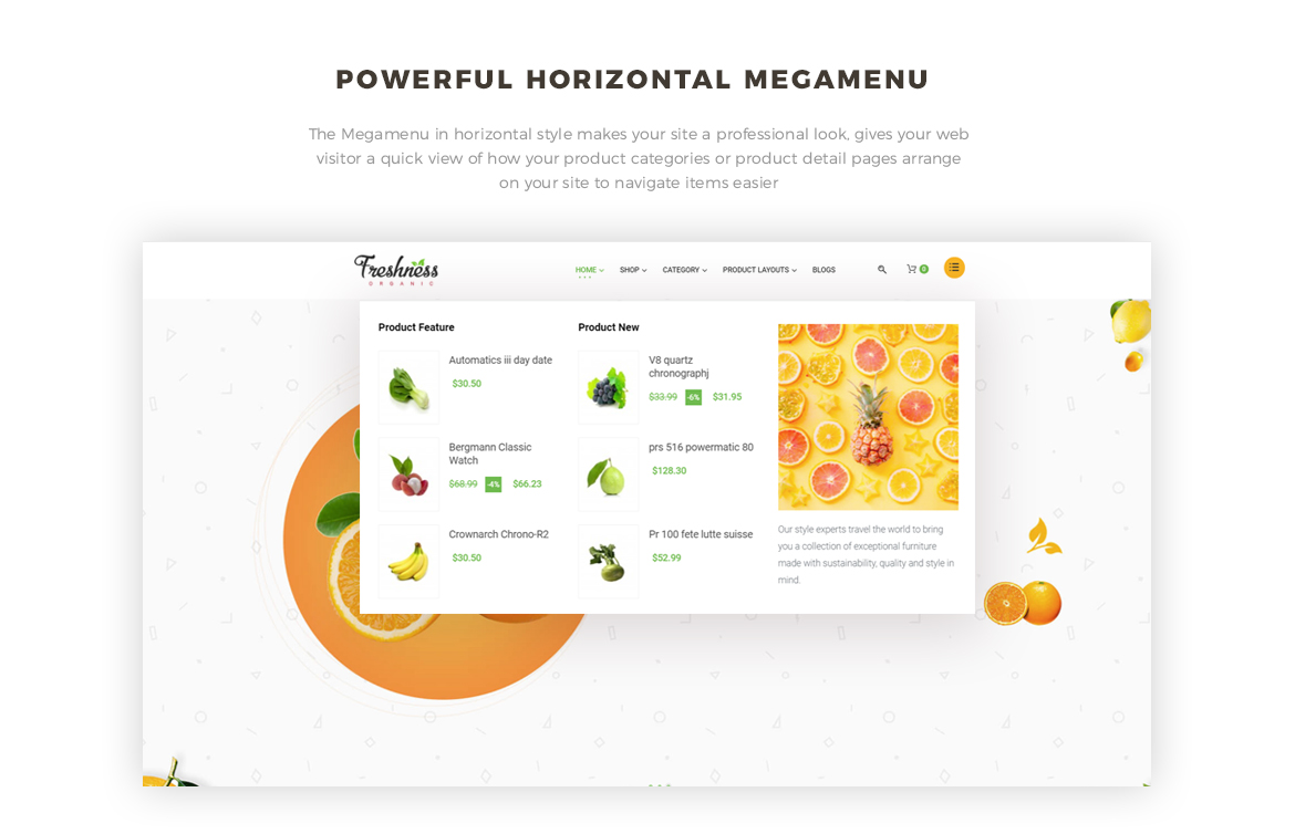 horizontal mege menu - Bos Freshness - Food Prestashop Theme