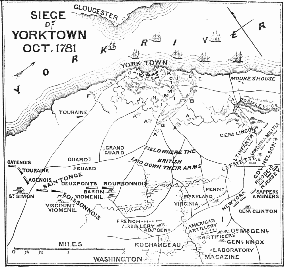 A plan of the Battle of Yorktown drawn in 1875. Published in A Pictorial History of the United States by S.G. Goodrich, Philadelphia: J. H. Butler & Co. (1875), 277.