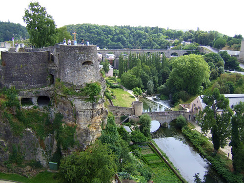 ruins in the Grund in Luxembourg