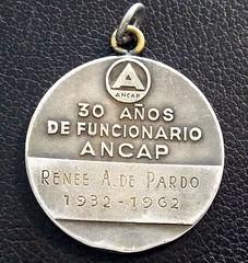 1962 Uruguary ANCAP Medal reverse