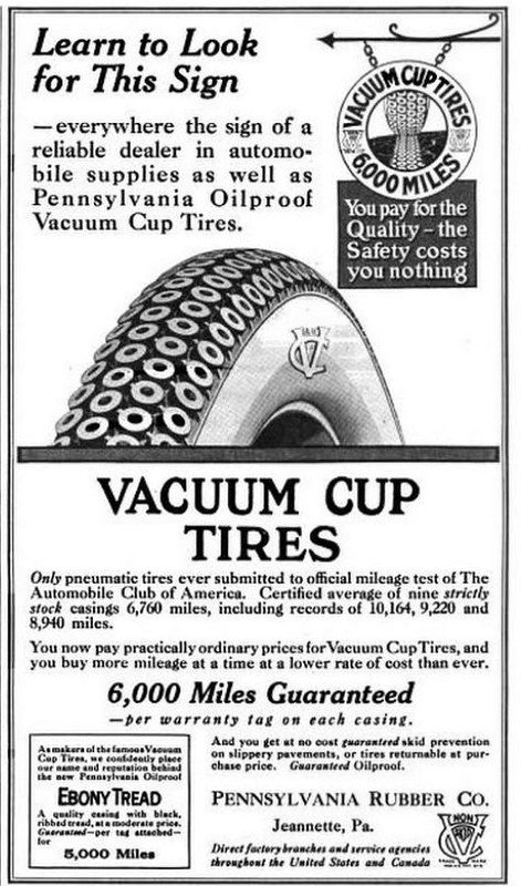 Pennsylvania Rubber Co. Vacuum Cup Tires 1916