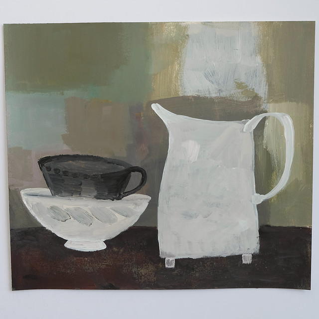 still life with footed jug