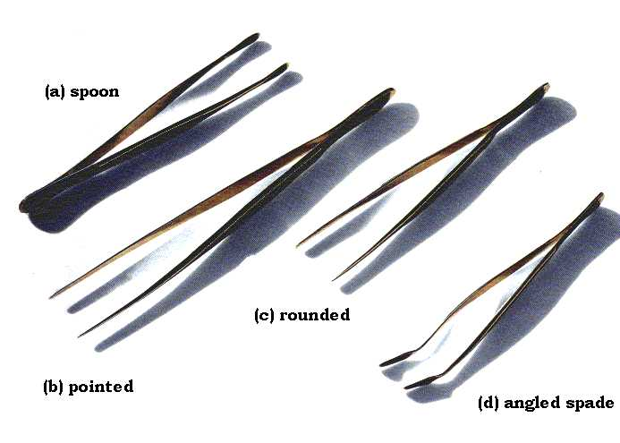 Different types of stamp tongs