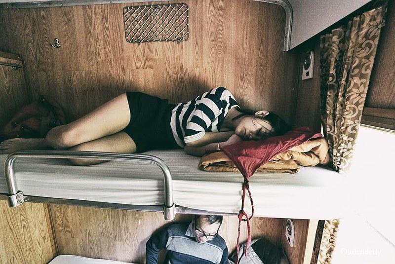 Sleeping on Train to hue from Da Nang