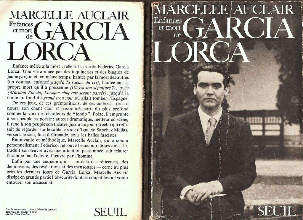 "Portada del libro de Marcelle Auclair ""Enfances et mort de García Lorca"", Ed Seuil, 1968"