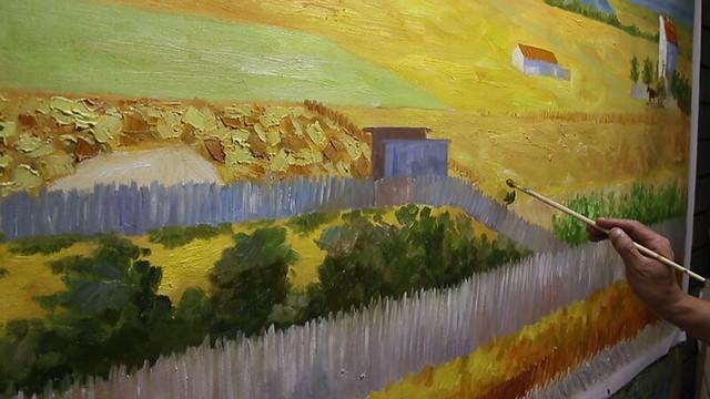 『クロー平野の収穫、背景にモンマジュール』