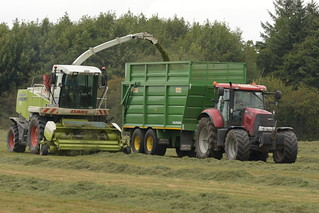 Claas Jaguar 890 SPFH filling a Smyth Trailers Super Cube Field Master Trailer drawn by a Case IH Puma 160 Tractor