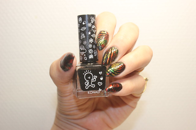 Konad black nail foils stamping