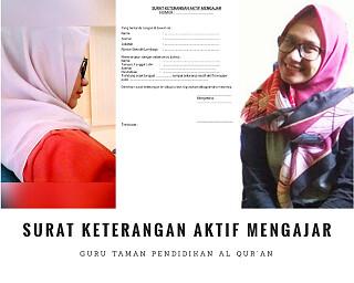 Surat Keterangan Aktif Mengajar Guru TPQ ustadz ustadzah