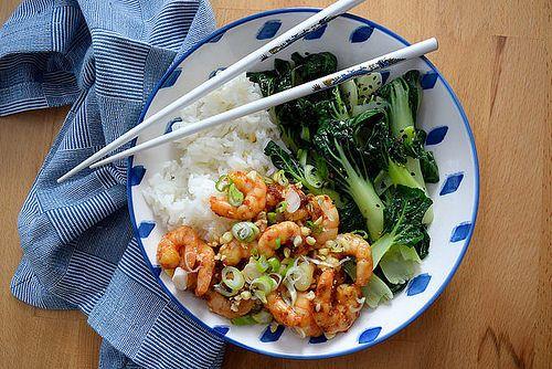 Korean Prawn Rice Bowl with Sesame Pak Choi