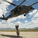 Instructors with the 351st Battlefield Airmen Training Squadron lead pararescue trainees in ladder climbing, fast-roping and line hauling drills from an HH-60G Pave Hawk helicopter at Kirtland Air Force Base in Albuquerque, N.M., Aug. 8, 2017. (U.S. Air Force photo by J.M. Eddins Jr.)
