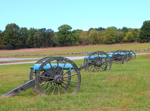 Civil War Artillery and Early Autumn Color, Pea Ridge National Military Park - Benton County, Northwest Arkansas