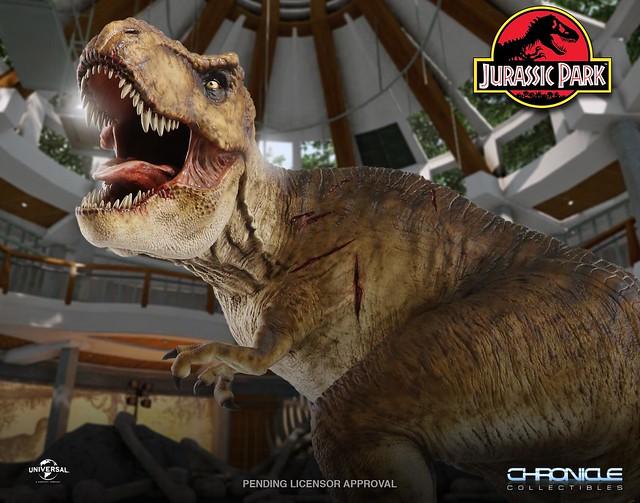 彷彿聽到了那霸氣的怒吼聲~~ Chronicle Collectibles《侏羅紀公園》在大廳裡的霸王龍 T. Rex in the Rotunda 1/9 比例全身雕像作品