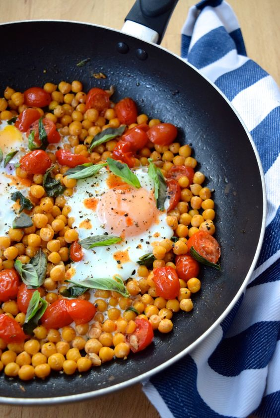 Baked Eggs with Chickpeas, Tomatoes & Basil