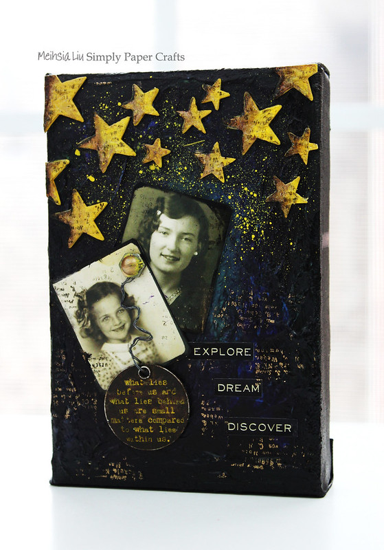 Meihsia Liu Simply Paper Crafts Mixed Media Canvas Starry Night Tim Holtz Simon Says Stamp 5